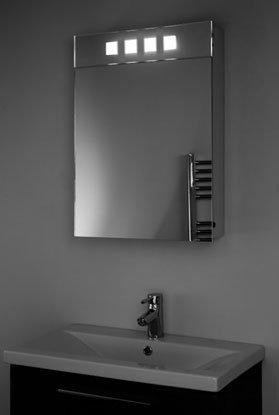 Diamond X Collection Deva Demister Fluorescent Illuminated Bathroom Mirror Cabinet with Demister Pad, Sensor & Shaver (H)700mm x (W)500mm x (D)110mm