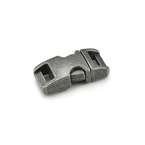 '3pezzi 3/8Chiusura a scatto/chiusura a Clip/chiusura a incastro, lavorazione di alta qualità, chiusura a bussola) in resistente, lega metallica per braccialetti Paracord, cordino ecc., 33mm x 15mm, colore: Stone, taglia S-marca Ganzoo