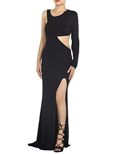 Ib-Ip Womens One Shoulder Long Dress, Black