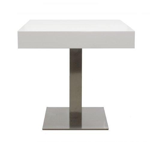 Tenzo-4805-001-Bloc-Designer-Bistrotisch-Tischplatte-12-cm-Wabe-mit-MDF-Beschichtung-wei-lackiert-matt-Edelstahluntergestell-77-x-80-x-80-cm-HxBxT