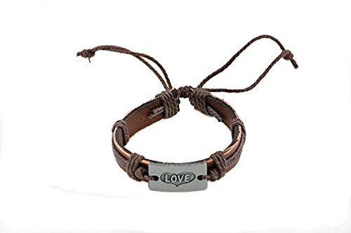 "* ° 6054 pelle-braccialetto ""Amare"" con piastra metallica"
