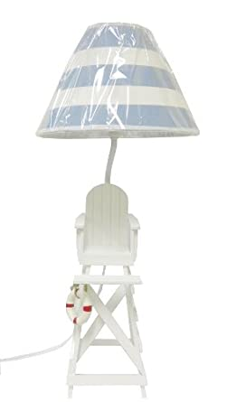 beach summer table desk lamp blue white shade beach themed lamp. Black Bedroom Furniture Sets. Home Design Ideas