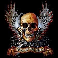 Shut Up and Ride Hardcore Skull Biker Chopper T-shirt, X-Large, Black