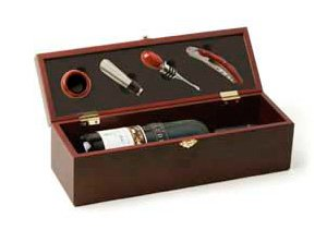 True Fabrications Cherry Wood Wine Box & Accessory Gift, 4 Piece Set Includes Corkscrew, Drip Ring, Stopper & Pourer And Room To Insert Bottle Of Wine - Perfect Holiday Gift front-540576