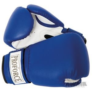 Buy ProForce Leatherette Boxing Gloves, Blue & White 16 oz by AWMA