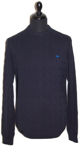 Fynch Hatton Mens Cable Jumper 131-305 Navy (Large)