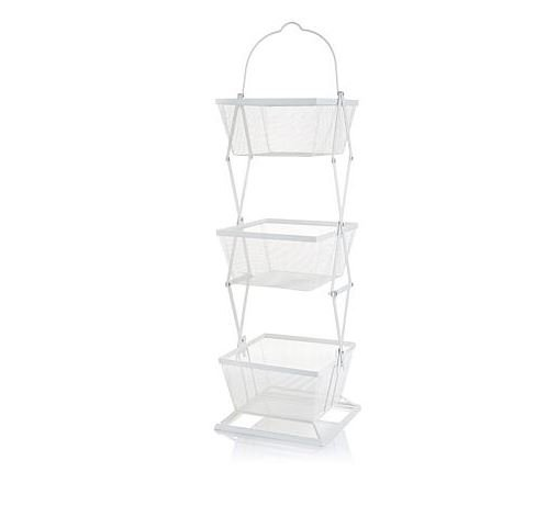 Origami 3-Tier Produce Basket Vegetable Bin Snack Organizer | Fruit Rack, Onion Basket, Three Tiers, Kitchen Counter Storage, for Farmhouse Veggies Fruits or Storage Organizer, Metal Wire | White (Color: White)