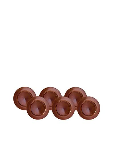 10 Strawberry Street Set of 6 Lacquer Round Chargers, Copper