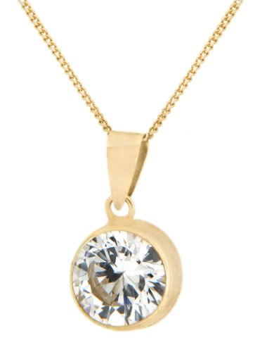 9ct Yellow Gold Round Cubic Zirconia Pendant on Curb Chain Necklace 46cm/18
