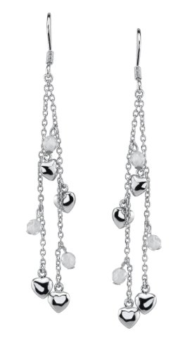 Seventeen Jewelry- Sterling Silver and Crystal Earrings Accented with Sterling Silver Hearts