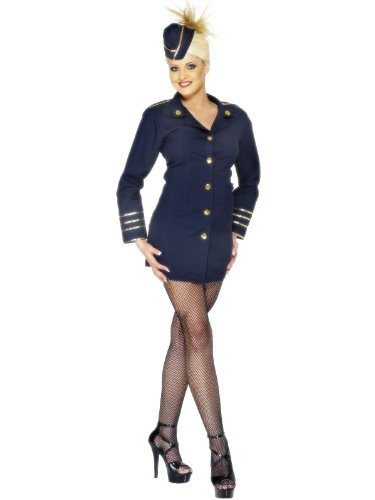 Ladies Navy Blue Dazzling Flight Attendant Fancy Dress Costume Size Medium