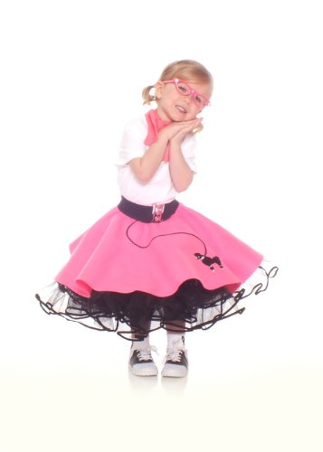 Hip Hop 50S Shop Toddler 3 Piece Poodle Skirt Outfit - 2T Hot Pink