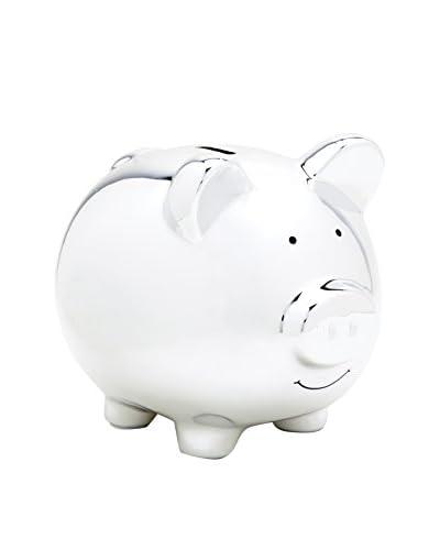 Pearhead Ceramic Piggy Bank, Silver
