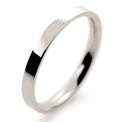 18ct White Gold Wedding Ring Light Weight Flat Court - 2mm
