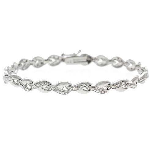 Sterling Silver Diamond accent Infinity Desgin Link Bracelet