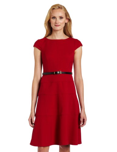 Anne Klein Women's Stretch Honeycomb Belted Swing Dress