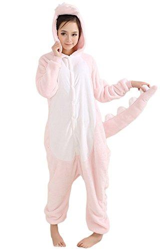 QinYing Unisex-adult Kigurumi Onesie Pajamas Party Dinosaur Cosplay Costumes Pink S