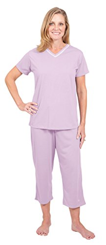 Wicking Kristi Capri Pajama Set For Cooler Nights and Travel - (M(8/10),Violet)