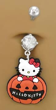 Hello Kitty Halloween Pumpkin Dangle Belly Navel body jewelry piercing bar Ring