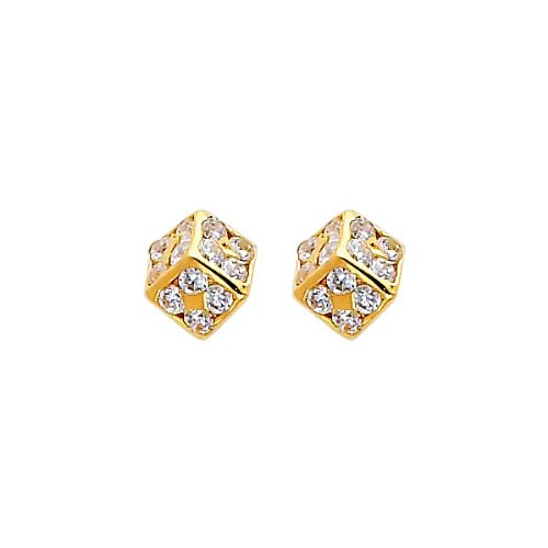 14K Yellow Gold Small Cube CZ Stud Earrings with Screw-back for Baby & Children