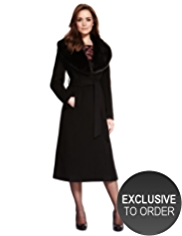 Petite Wool Blend Faux Fur Collar Belted Maxi Coat with Cashmere