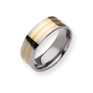 Titanium 14k Gold Inlay 8mm Polished Band Ring