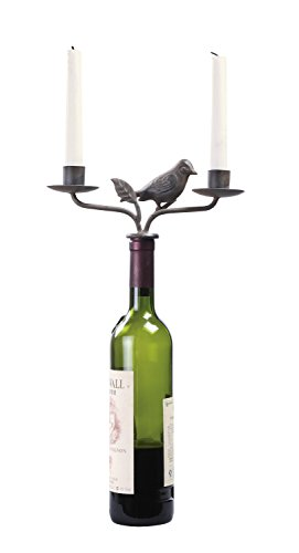 Two-Candle Rust Metal Bird Wine Bottle Stopper Candelabra