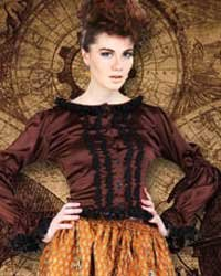 ThePirateDressing Steampunk Victorian The Morriss Frilly Blouse (Medium)