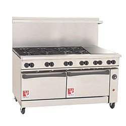 Wolf C72-Cc-8B-24G-P 72€ Gas Open Burner/Griddle Top Restaurant Range - Challenger Xl Serie