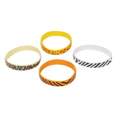 Safari Print Rubber Bracelets (Bulk Pack of 12 Bracelets)