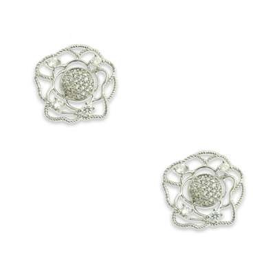 New Style Button Earrings 925 Sterling Silver Jewlery with CZ Rose in Wire Design(WoW !With Purchase Over $50 Receive A Marcrame Bracelet Free)