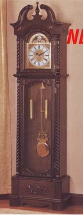 Deep Brown Finish Grandfather Clock Wood Curio Chime