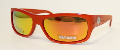 Harley Davidson Sunglass Orange Modified Plastic Rectangle Sunglass, Orange Flash Lens HDX 833