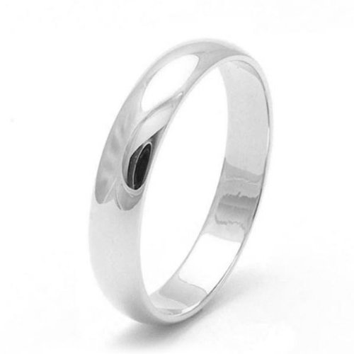 18ct White Gold Wedding Ring, 4 mm width, light weight, D-shape, Ringsize J