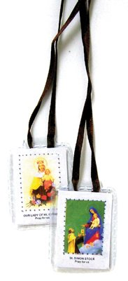 White/Brown Scapular with Jesus and the Virgin Mary