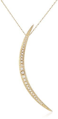 Mizuki 14Kt Chain Charm Long Sliding Icicle Crescent Diamond Pendant Necklace (.58Ct), 18''