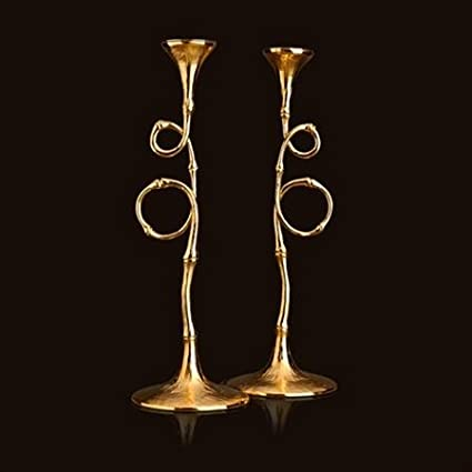Evoca 24kt Gold Plated Candlesticks Pair by L'Objet