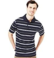 Blue Harbour Pure Cotton Jacquard Striped Polo Shirt