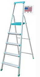 [ USA Best seller ] Euro Pro Household Aluminium Step ladder 5 Steps - Made in USA - Folding - Tool Tray - ABS Platform - Ultra Light Weight