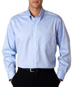 Van-Heusen-V0143-Mens-Long-Sleeve-Non-Iron-Pinpoint-Oxford-Blue-Mist-Small