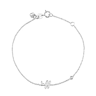 "Shy By Sydney Evan Sterling Silver White Gold Plated ""Bff"" Bracelet with Diamond Bezel of 17.145cm"