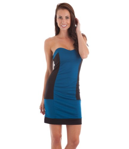 2Luv Women'S Contrast Sweetheart Strapless Body Con Dress Blue S(Kd5069) front-28947