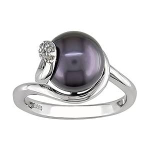 Sterling Silver Black FW Pearl Ring