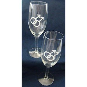 Gay Rainbow Sisters Gay Mens Champagne Flutes