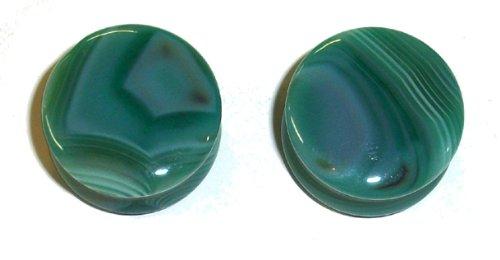 Green Line Agate Organic Stone Plugs 3/4