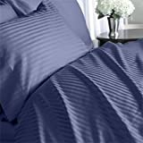 Egyptian Cotton 1200 Thread Count 3 - Pc Sateen Stripe Duvet Cover Navy Blue - King.