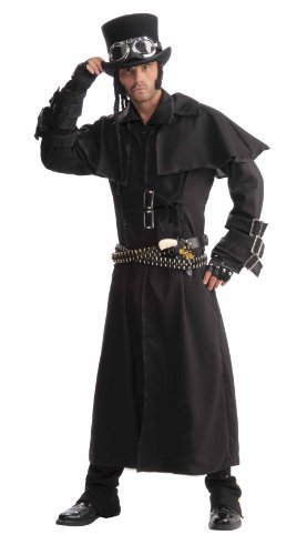 Men`s Steampunk Duster Coat, Black, One Size Costume