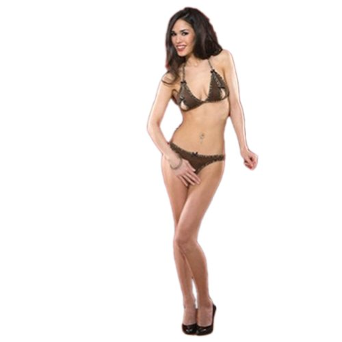 2 Piece Cave Girl Bikini and Crotchless Panty Set- Brown/Leopard