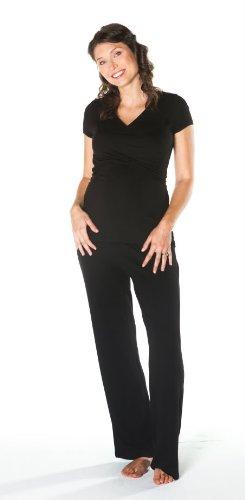 Black Maternity Nursing Wrap Top Sleep Set Sleepwear Medium