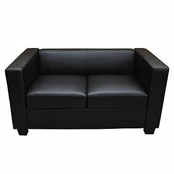 2er Sofa Couch Loungesofa Lille ~ Kunstleder, schwarz